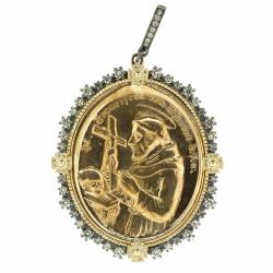 Closeup photo of German St. Francis of Assisi Medal Pendant