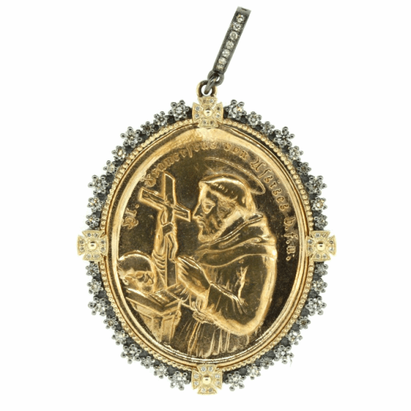 Closeup photo of 1900s German St. Francis of Assisi Medal Pendant