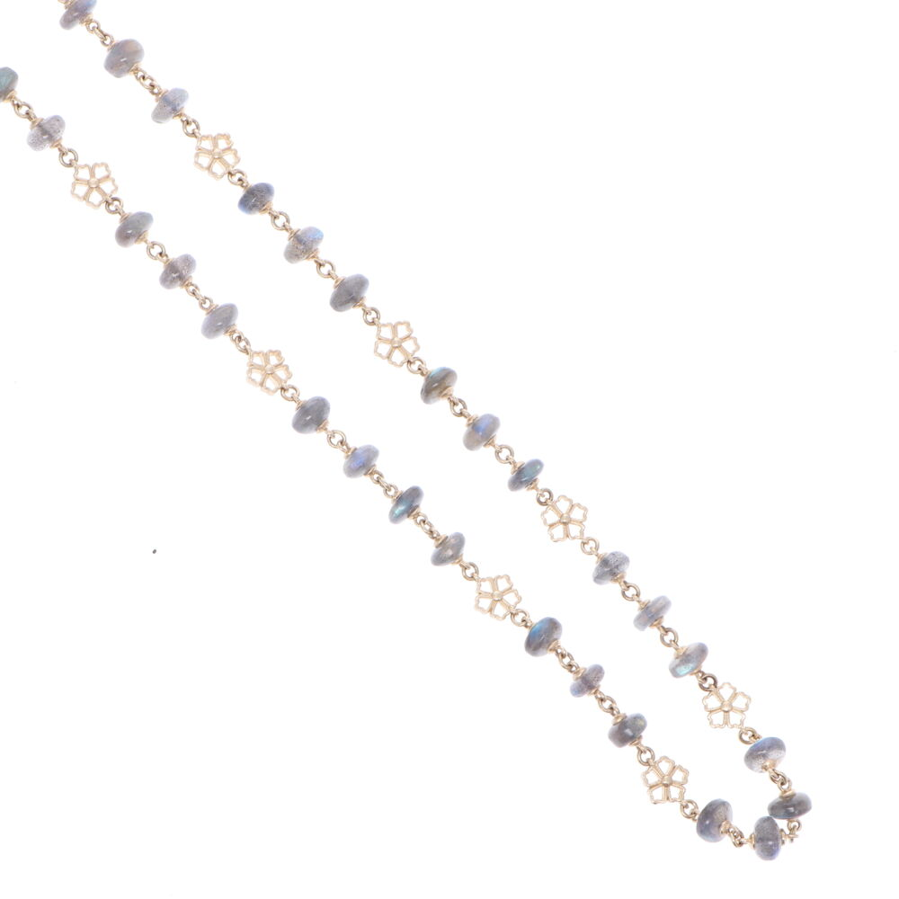"""Image 2 for Labradorite Yellow Gold Necklace with Flower Stations 32"""""""