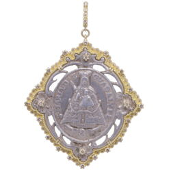 Closeup photo of Spanish Our Lady of Guadalupe Mary Medal