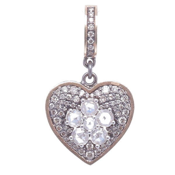 Closeup photo of Diamond Heart with Rose Cut Diamond Flower Center
