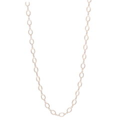"""Closeup photo of Satin Finish Oval Link Yellow Gold Chain 26"""""""