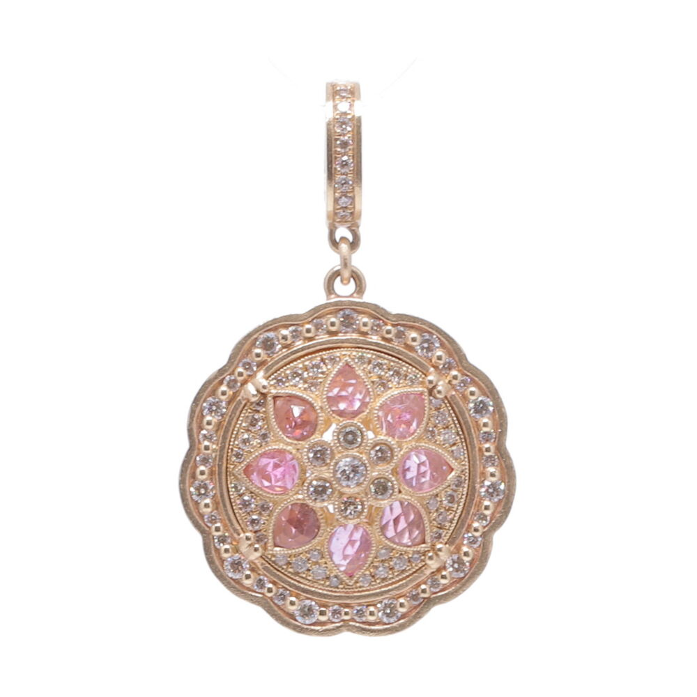 Yellow Gold Pink Bloom Pendant