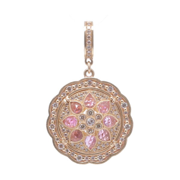 Closeup photo of Yellow Gold Pink Bloom Pendant