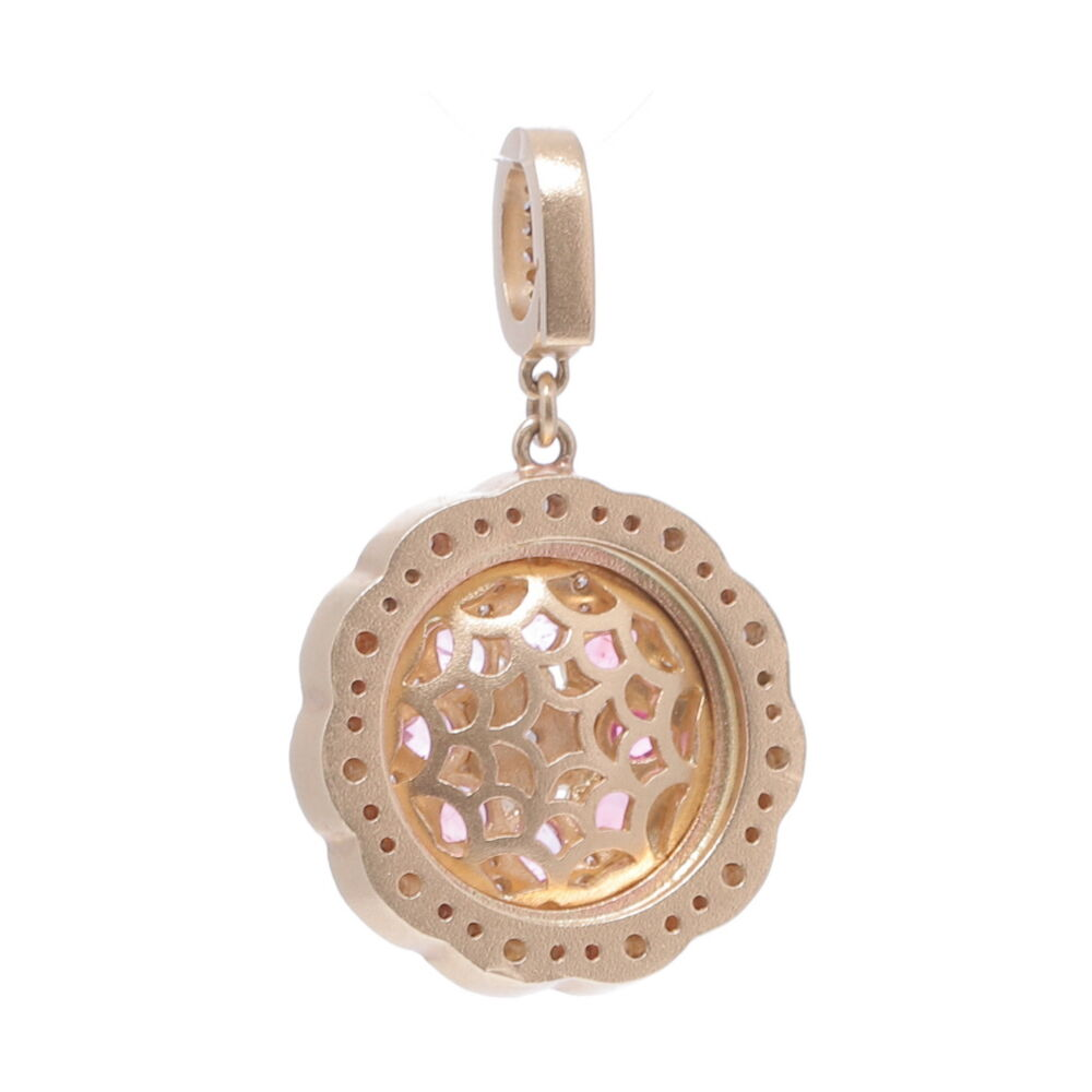 Image 2 for Yellow Gold Pink Bloom Pendant