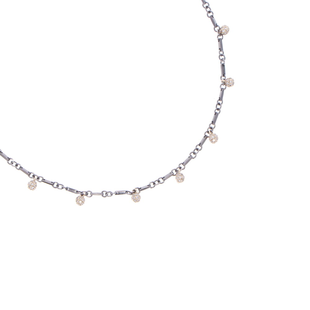 Image 2 for Tri Colored Diamond Sphere Necklace 18""