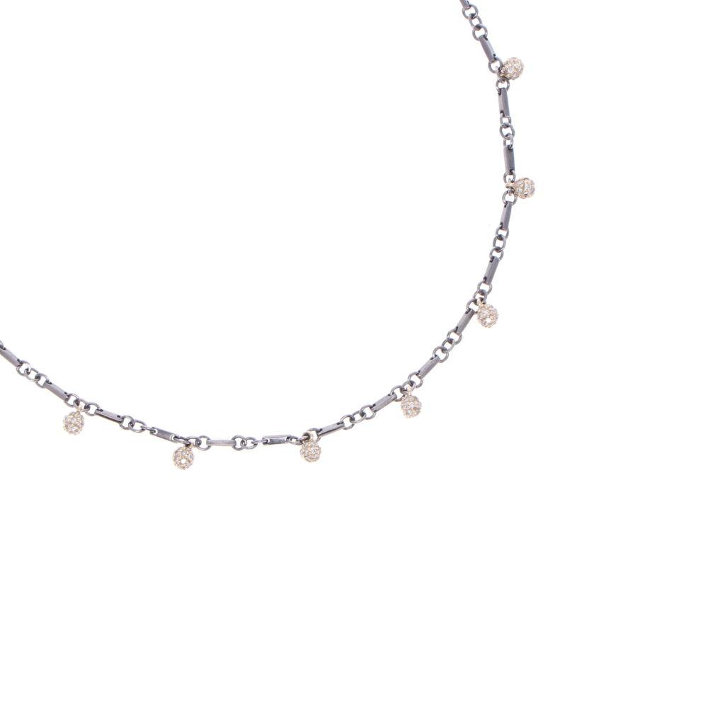 "Image 2 for Tri Colored Diamond Sphere Necklace 18"""