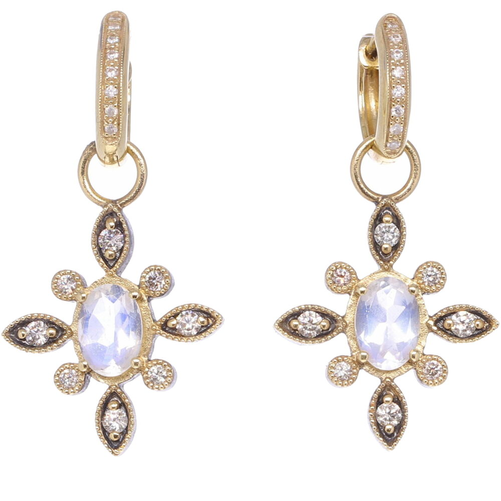 North Star Moonstone & Diamond Earring Charms