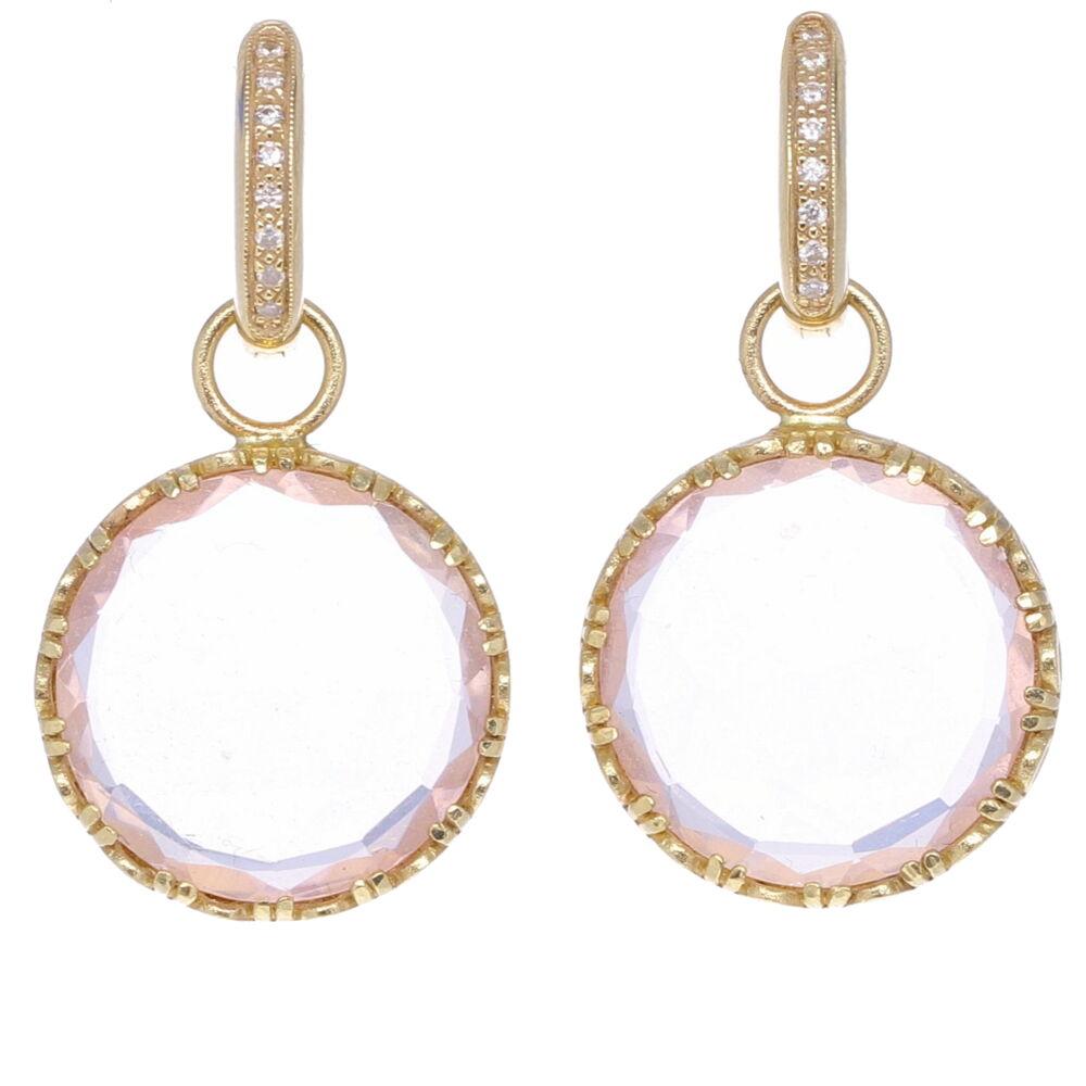Rose Quartz Coin Drop Earring Charms