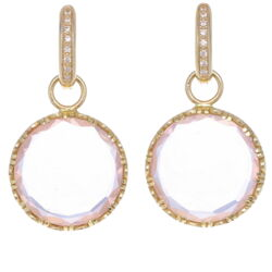 Closeup photo of Rose Quartz Coin Drop Earring Charms