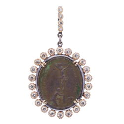 Closeup photo of French Crucifixion and Our Lady of Sorrows Medal Pendant