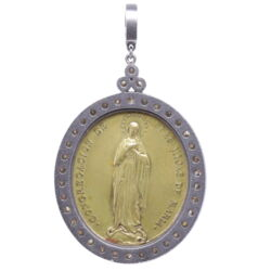 Closeup photo of Ave Maria Daughters of Mary Pendant