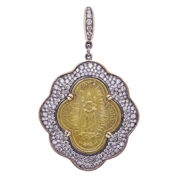 Closeup photo of Gaelic Madonna D' Oropa Mary Pendant