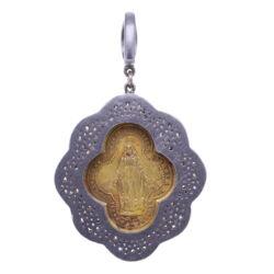 Closeup photo of Gaelic Madonna D' Oropa Mary Pendant