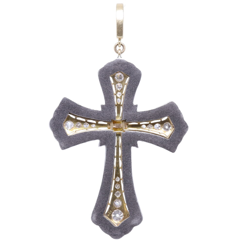 Image 2 for Antique Art Deco Diamond Cross Pendant