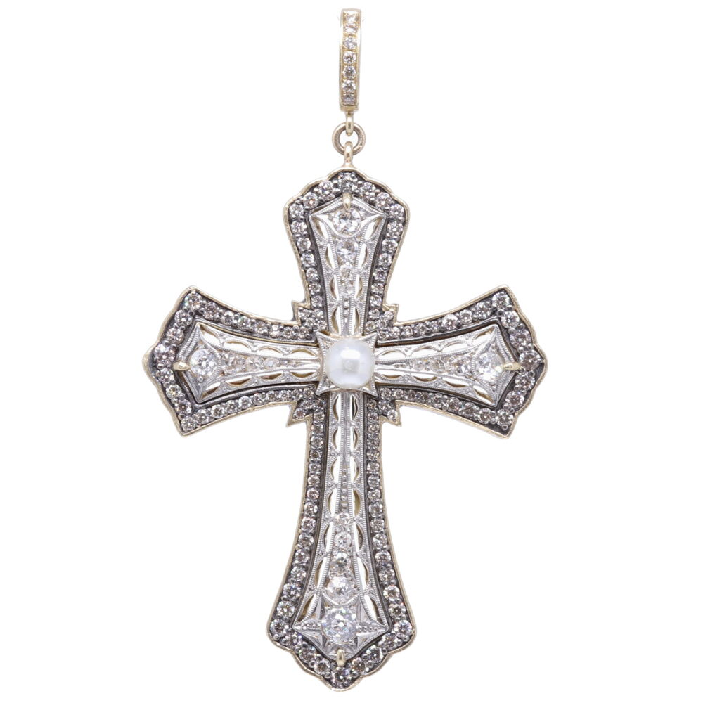 Antique Art Deco Diamond Cross Pendant