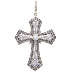 Closeup photo of Antique Art Deco Diamond Cross Pendant