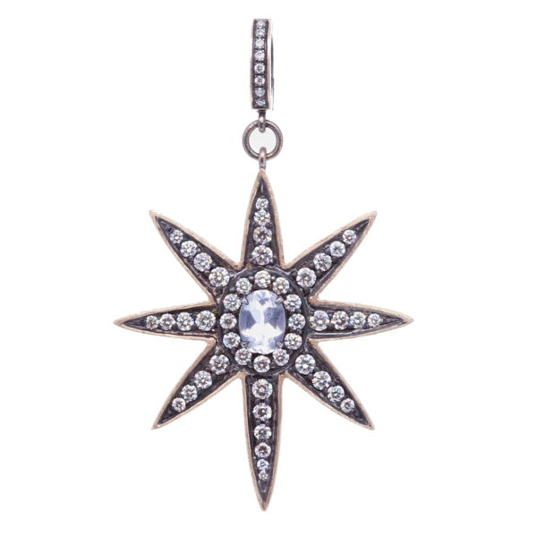 Closeup photo of Large North Star Moonstone Pendant
