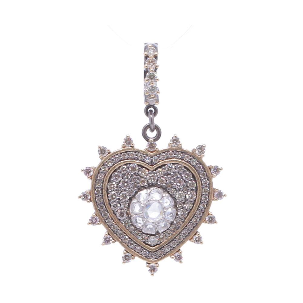 Pave Diamond Heart with Rose Cut Diamonds