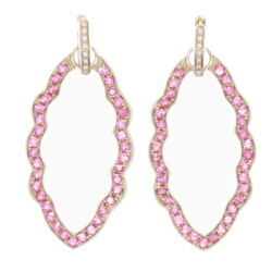 Closeup photo of Marquise Pink Tourmaline Earring Charm Frames