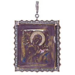 Closeup photo of Antique Virgin Russian Icon Pendant