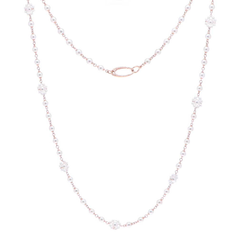 Limited Edition Rose Flower Pearl Necklace 34""