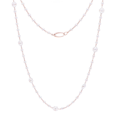 """Closeup photo of Limited Edition Rose Flower Pearl Necklace 34"""""""