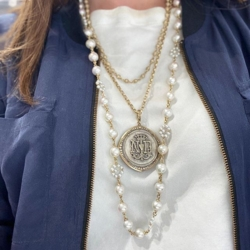 """Closeup photo of Limited Edition Akoya Pearl Necklace with Flower Stations 32"""""""