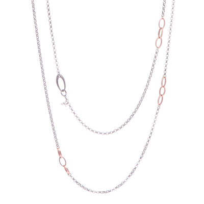 """Closeup photo of Limited Edition Rose Oval Station Chain 38"""""""