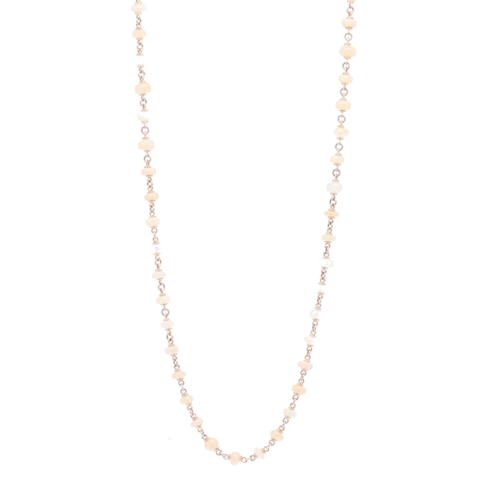 Opal Cabochon Gold Necklace 45""