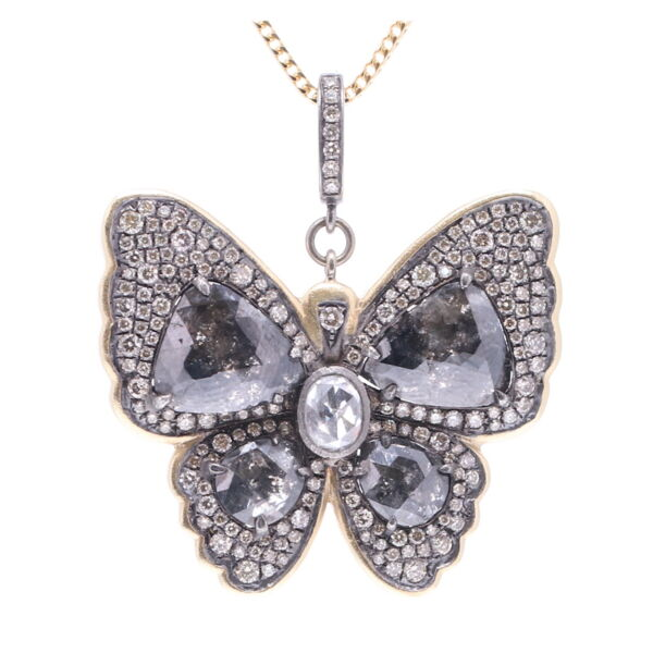 Closeup photo of Black Diamond Slice Butterfly Pendant