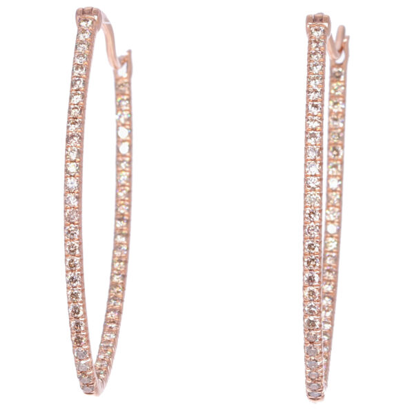 Closeup photo of Large Marquis Diamond In & Out Hoops  in Rose Gold
