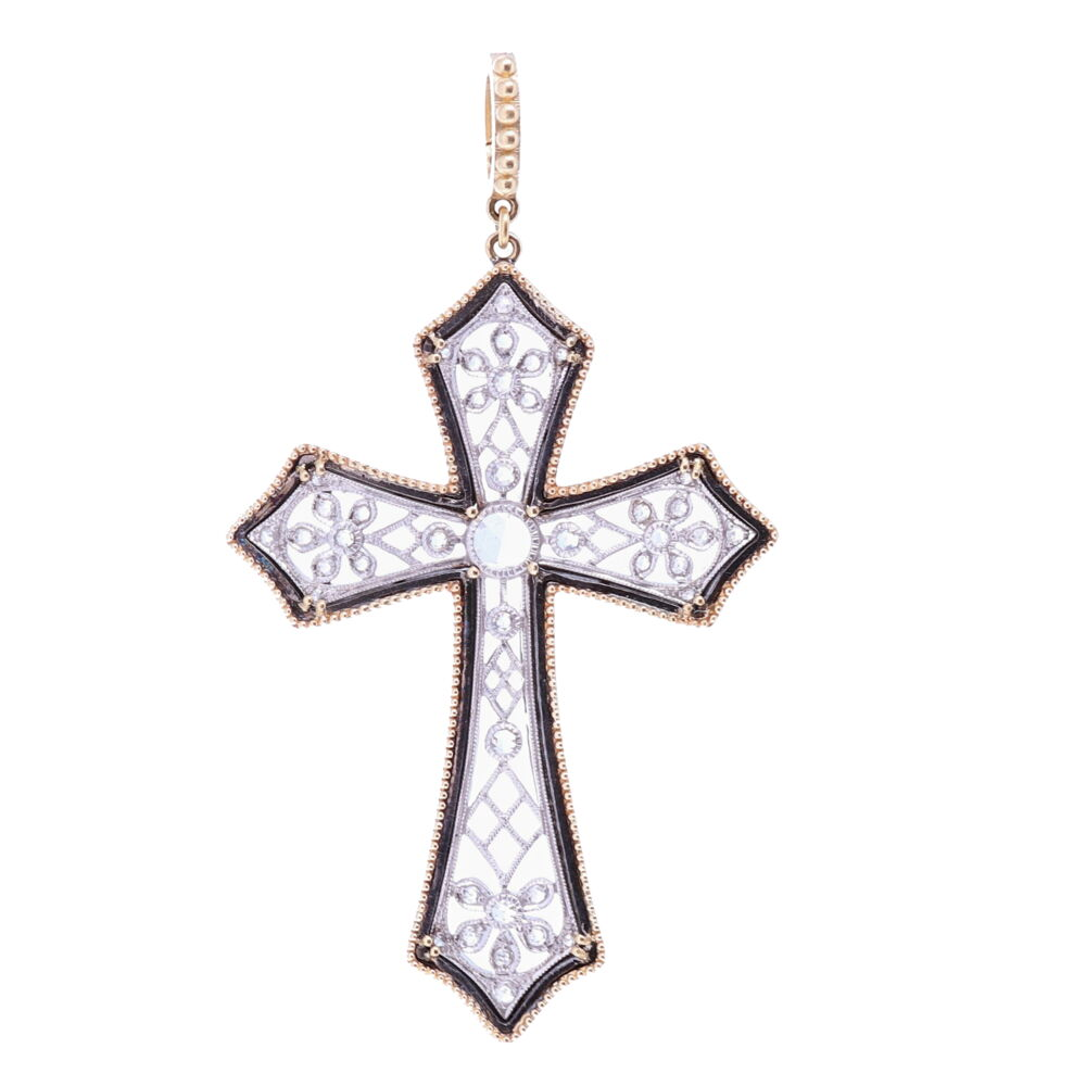 Art Deco Rose Cut Diamond Cross
