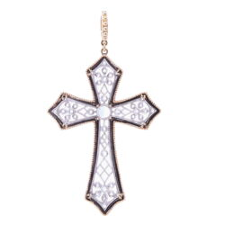 Closeup photo of Art Deco Rose Cut Diamond Cross