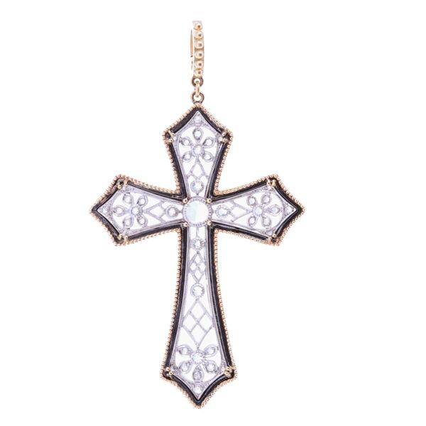 Closeup photo of Art Deco Rose Cut Diamond Cross