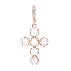 Closeup photo of Rose Cut Diamonds Cross Pendant