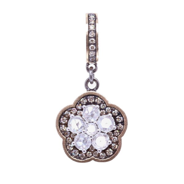 Closeup photo of Rose Cut Diamond Flower Pendant