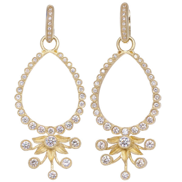 Closeup photo of Diamond Flower Burst Earring Charm Frames