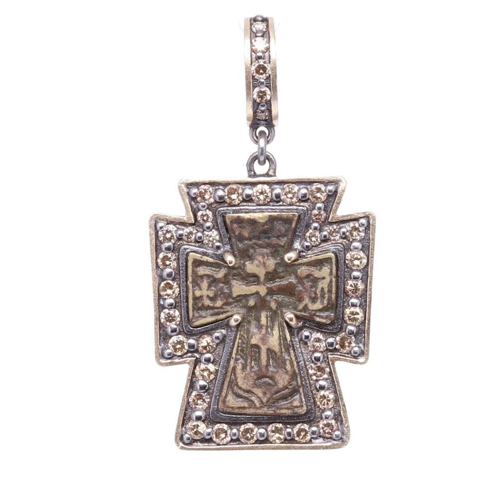 Antique Russian Orthodox Cross Pendant