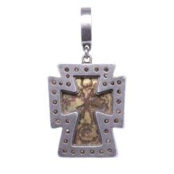 Closeup photo of Antique Russian Orthodox Cross Pendant