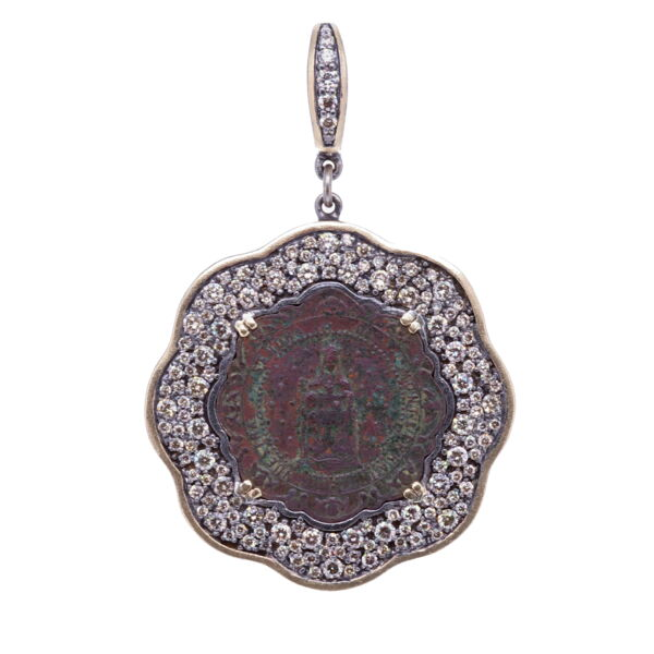 Closeup photo of Our Lady of Montserrat Mary Pendant
