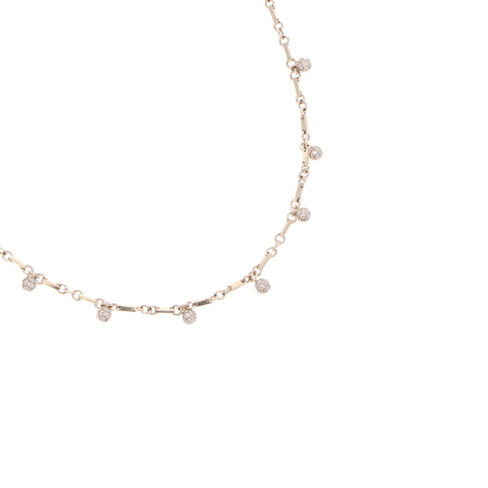 """Image 2 for Yellow Gold Diamond Sphere Necklace 18"""""""