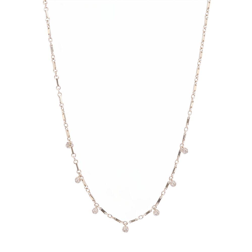 "Yellow Gold Diamond Sphere Necklace 18"""