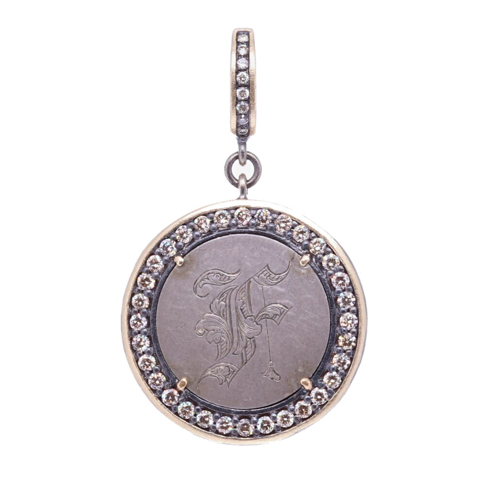 "Love Token Pendant Engraved with ""F"""