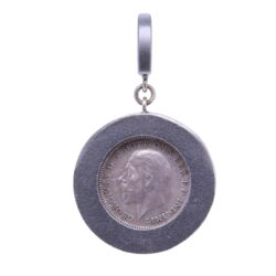 """Closeup photo of Love Token Pendant Engraved with """"F"""""""
