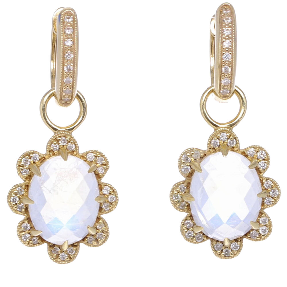 In Bloom Moonstone & Diamond Flower Earring Charms