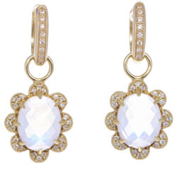 Closeup photo of In Bloom Moonstone & Diamond Flower Earring Charms