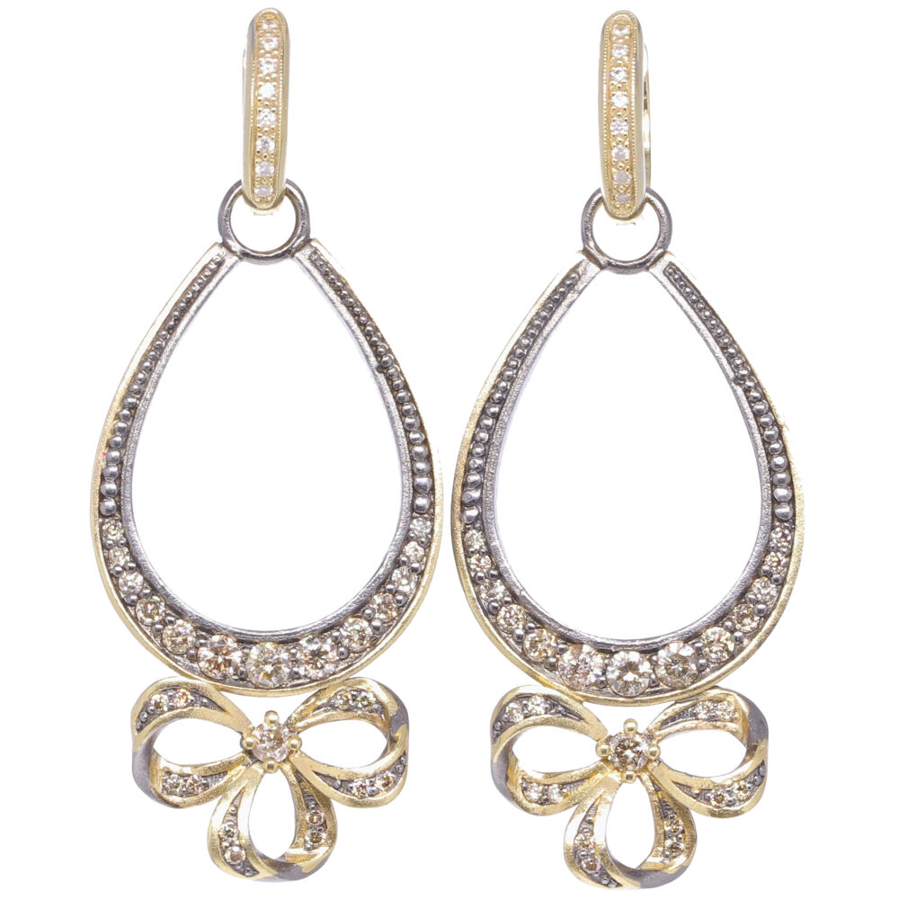 French Bow Diamond Earring Charm Frames