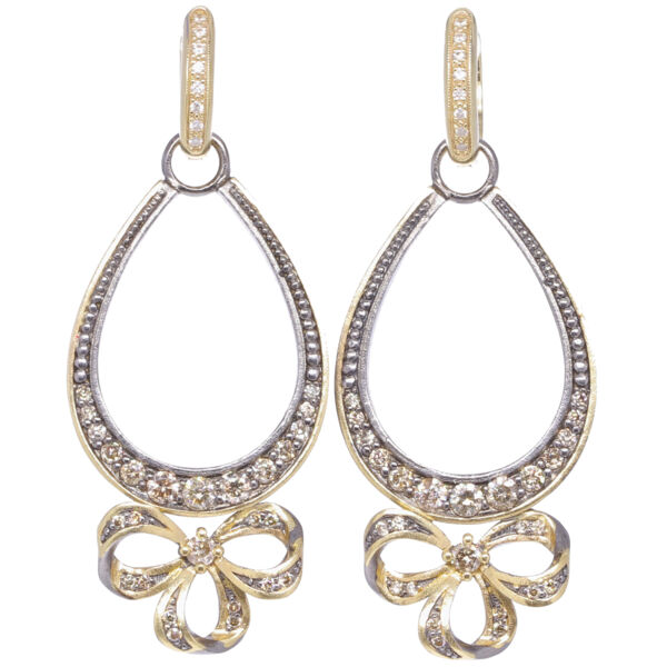 Closeup photo of French Bow Diamond Earring Charm Frames
