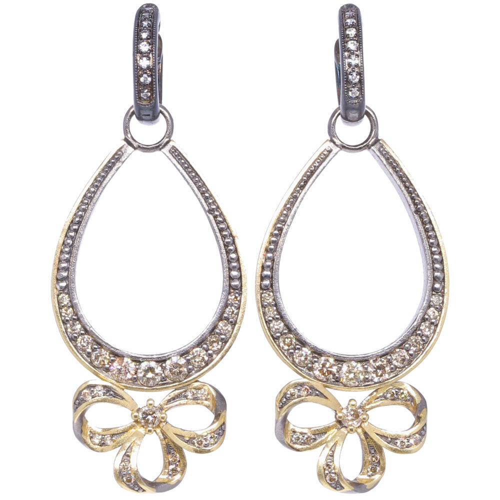 Image 2 for French Bow Diamond Earring Charm Frames